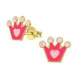 childrens gold glitter crown ear stud earrings online store in South Africa