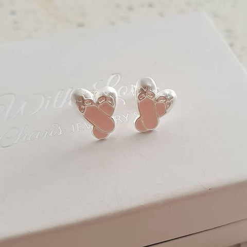 C236-C12756 - 925 Sterling Silver Ballet Shoes Ear Stud Earings 9x11mm