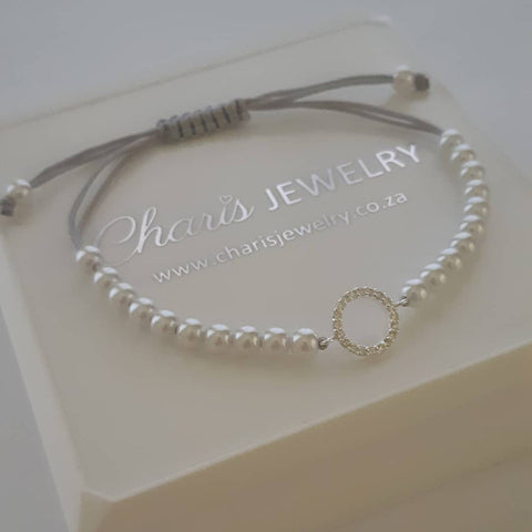 C1301-C33432 - 925 Sterling Silver Family / Friendship Circle Cord Bracelet, Adjustable