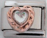 EL-034 - Clear Heart Rose Gold Tone Italian Charm Link, Stainless Steel