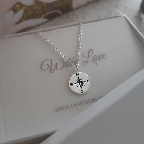 C1138-C37900 - 925 Sterling Silver Compass Necklace with Personalized Note