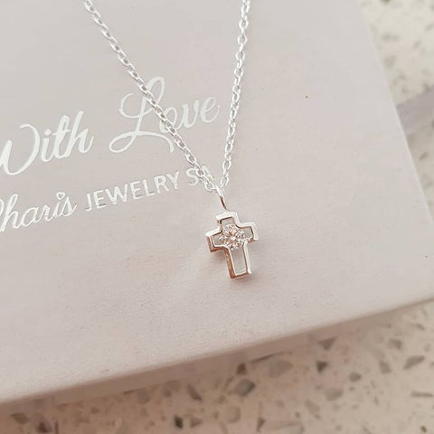 C378-C33280 - 925 Sterling Silver CZ Small Cross Necklace 6x7mm, 45cm chain