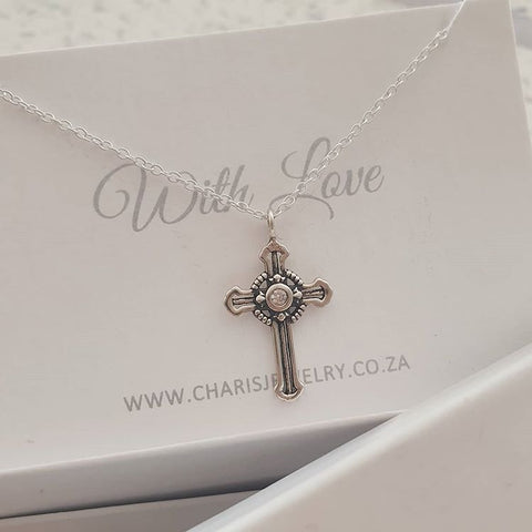 C1127-C38856 - 925 Sterling Silver Cross Necklace, 12x18cm, 45cm chain
