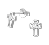 C641-C35087 - 925 Sterling Silver CZ Cross Ear Stud Earrings 6x7mm
