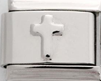 STS-11 - Single Plain Link Cross Italian Charm Link, Stainless Steel