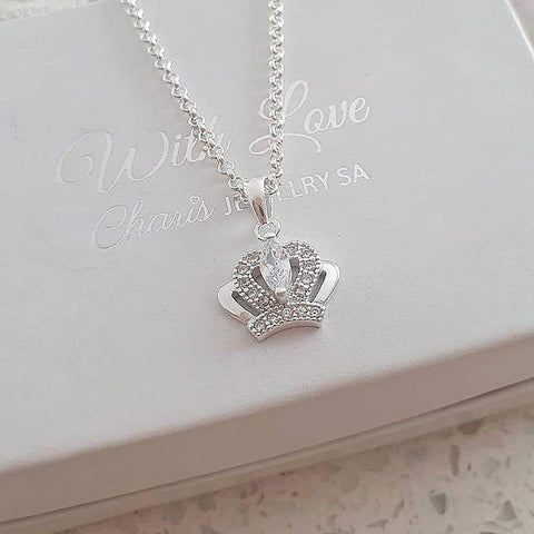 C36865 - 925 Sterling Silver Crown CZ Necklace