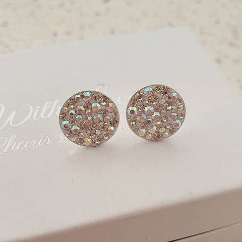 C1184-C36640 - 925 Sterling Silver Crystal Ear Stud Earrings 11mm