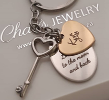 KR24 - Personalized Keyring Heart, Oval and Key, Stainless Steel