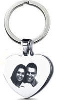KR25 - CNE101323 - Personalized Photo Keyring with engraving on the back, Stainless Steel
