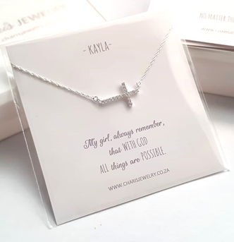 C718-C19127 - 925 Sterling Silver CZ Cross Necklace on Personalized Card