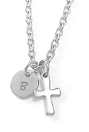 EJ10 - Personalized Engraved Childrens Necklace, Initial with Cross