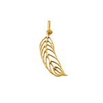 N1032 - Gold Plated 925 Sterling Silver Feather Charm Dangle