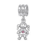 C1208-C5815 - 925 Sterling Silver CZ Girl Dangle European Charm Bead
