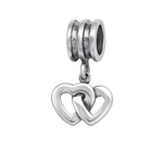 C1215-C29551 - 925 Sterling Silver Antique look Hearts Dangle European Charm Bead