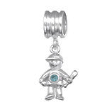 C1209-C28909 - 925 Sterling Silver CZ Boy Dangle European Charm Bead