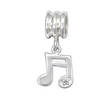 C1216-C29544 - 925 Sterling Silver Music Note Dangle European Charm Bead