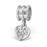 C1211-C9265 - 925 Sterling Silver Heart Dangle European Charm Bead