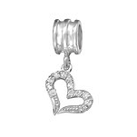 C1214-C11933 - 925 Sterling Silver CZ Heart Dangle European Charm Bead