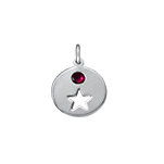 N1045 - 925 Sterling Silver Personalized Birthstone Heart / Star Charm Dangle