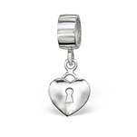 C1213-C4370 - 925 Sterling Silver Heart Dangle European Charm Bead