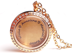 FL44 - Personalized Family Names Floating Locket Necklace Set, Gold Plated Stainless Steel