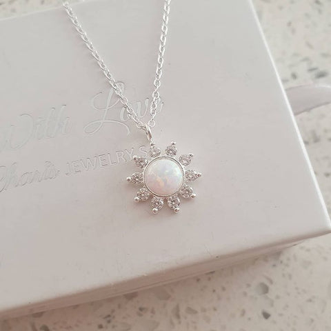 A154-C40209 - 925 Sterling Silver SN Fire & Snow Flower Necklace, 12mm, 45cm chain