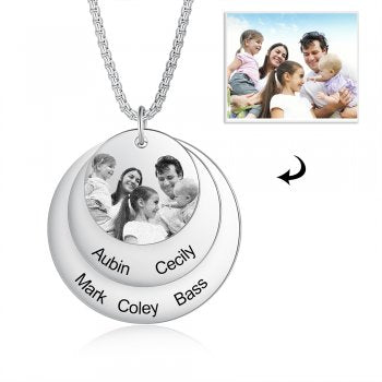 CNE105122 - Personalized Family Names Photo Necklace, Stainless Steel