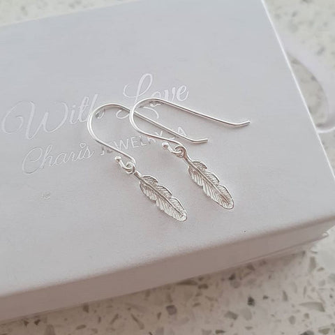 C539-C35313 - 925 Sterling Silver Feather Earings