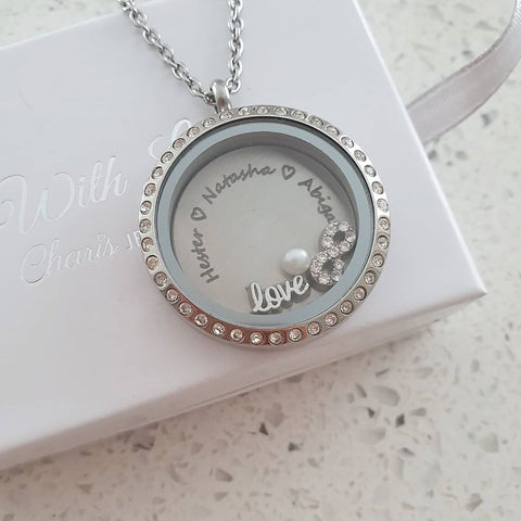 FL1-SET - Floating Locket with Personalized Names, Infinity, Love & Pearl Charm