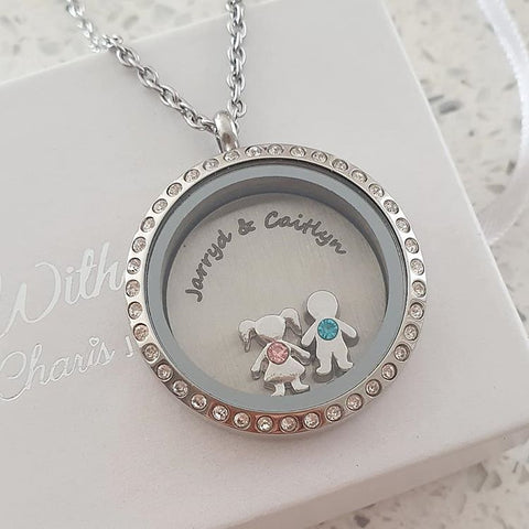 SET23 - Personalized Floating Locket Necklace, with Children's Names & Charms