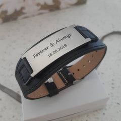 Men's personalized wrist strap adjustable stainless steel and leather