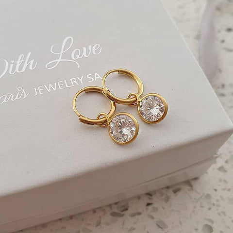 C1314-C37122 - Gold Plated 925 Sterling Silver CZ Round Hoop Earrings