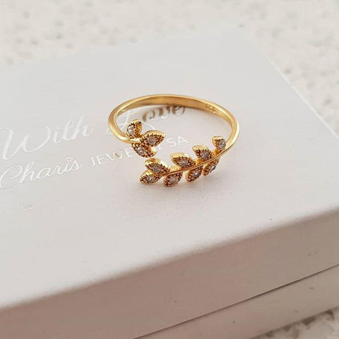 C935-C37978 - Gold Leaf / Branch Ring, Gold Plated 925 Sterling Silver