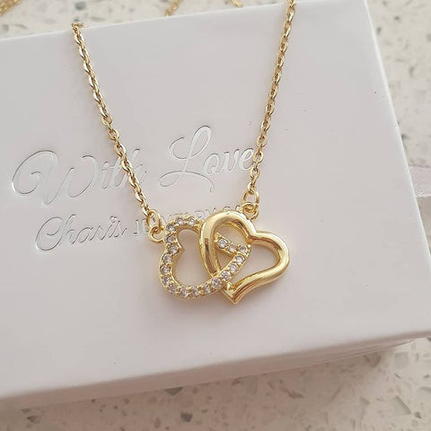 SS17-CB0223283 - Gold Stainless Steel CZ Stones Double Heart Necklace