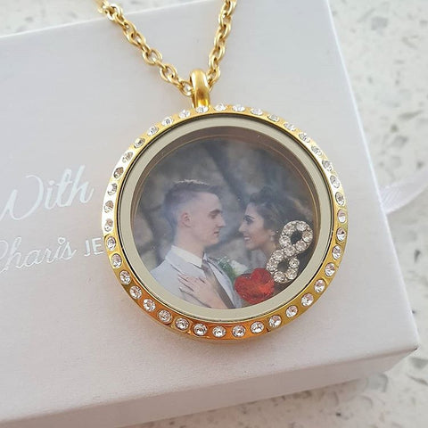 SET18 - Personalized Photo Floating Locket with Heart & Infinity Charm