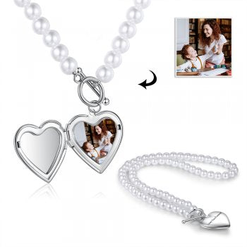 CNE104954 - Personalized Photo Heart Locket Necklace, Stainless Steel