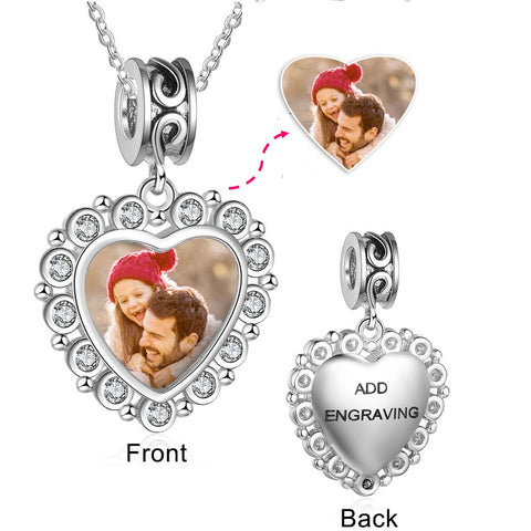 CNE103622 - 925 Sterling Silver Personalized Photo CZ Heart Charm Necklace