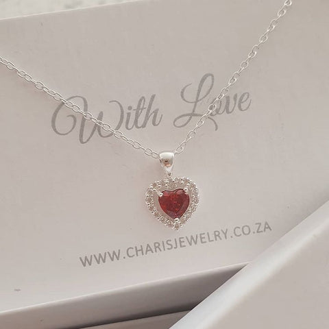 C820-C40257 - 925 Sterling Silver Red CZ heart Necklace, 9mm on 45cm chain