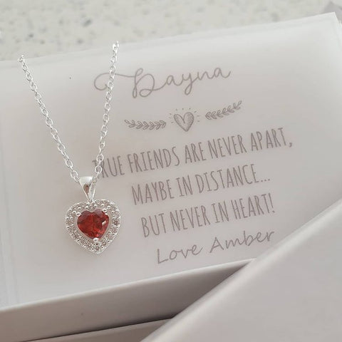 C820-C40257 - 925 Sterling Silver Red CZ Necklace with Note, 9mm on 45cm chain