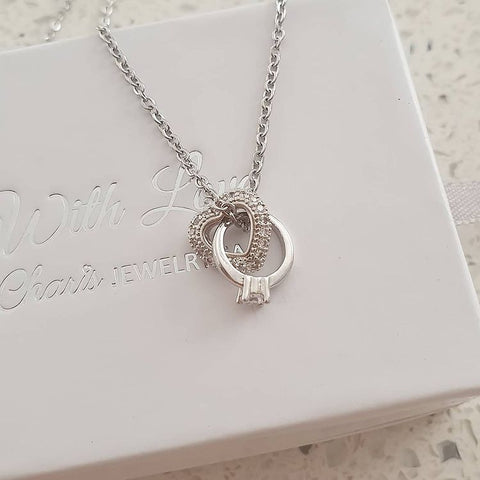 SS33-CB0223282 - Silver Stainless Steel CZ Heart with Ring Necklace