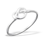 C322-C17202 - 925 Sterling Silver Infinity Heart Knot - Love / Friendship Ring
