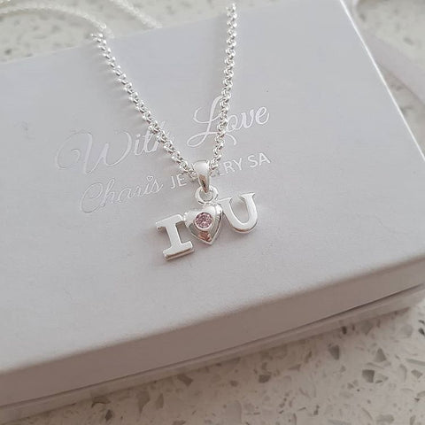 C33384 - 925 Sterling Silver I love you Necklace, Pink CZ Stone
