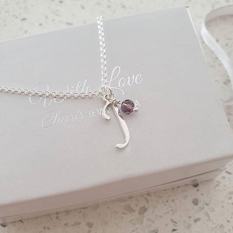 N54 - Sterling Silver Initial Letter Necklace with dangle Birthstone