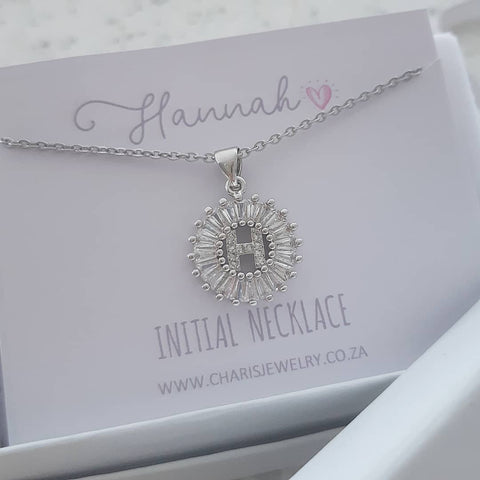 K15 - Stunning Initial Letter Necklace on Personalized Card, Silver CZ Stainless Steel