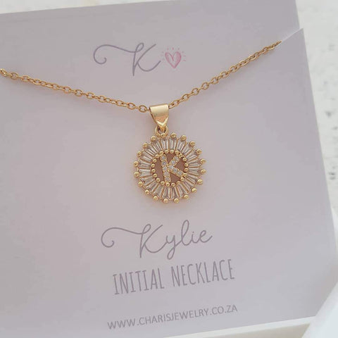 K14 - Stunning Initial Letter Necklace on Personalized Card, Gold CZ Stainless Steel