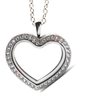 FL5 - Floating Locket Heart Necklace, High Quality Silver Stainless Steel with Chain