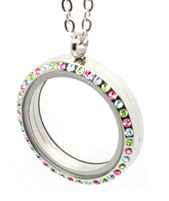 Floating Locket Necklace Colour Stones, Stainless Steel with Chain