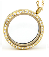 gold stones personalized floating locket necklace