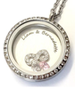 FL7 - Personalized Couples Names Locket Necklace, Stainless Steel with birthstones & infinity