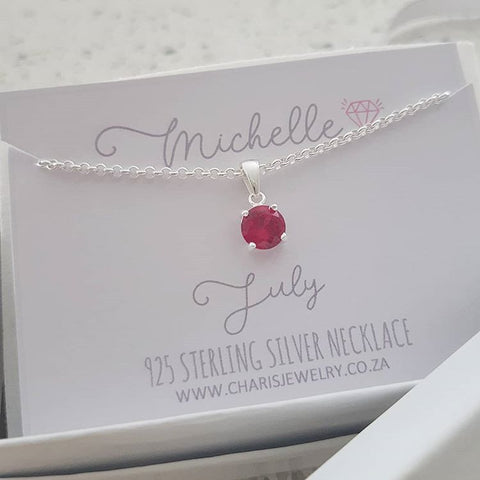 C33212 - 925 Sterling Silver July Birthstone Necklace,  Personalized Card